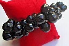 Grand Bijou bracelet rétro élastique perles résine noires rondes et  à facettes