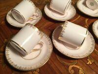 6 cups 6 Saucer Set Rose Tuscan Fine English Bone Porcelain Coffee