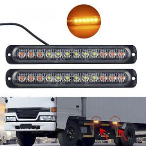 4x Amber 12-LED Car Truck Emergency Beacon Flash Warning Hazard Strobe Light Bar