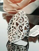 Ladies Contemporary Chunky 925 Sterling Silver Filigree Design Ring Size L