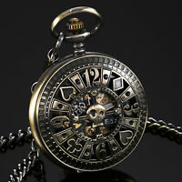 ESS Mens Pocket Watch Mechanical Black Dial Full Hunter Roman Numerals Luxury
