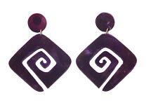 ABSTRACT PURPLE SQUARE SPIRAL EARRINGS W VELVET-LIKE TEXTURAL FINISH (ZX54)