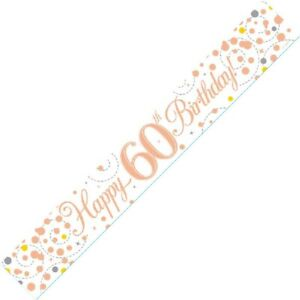 9ft White & Rose Gold Happy 60th Birthday Foil Banner Age 60 Party Decorations