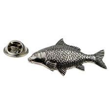 Pewter Carp Fish, Fishing Pin Badge Tie Pin / Lapel Badge - XWTP105