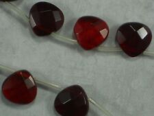 24 Ruby Red Beads Faceted Teardrop Crystal 12mm Top Drilled Briolette #5349