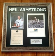 More details for ❤ neil armstrong signed framed picture collage space apollo 1st man on moon👌