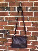 Valentina Handbag Woven Brown Boho Leather Crossbody Purse Bag Made In Italy