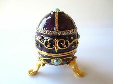 Purple Easter Style Egg Shaped Trinket Box Faberge Inspired