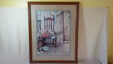 VINTAGE SPRING FLOWERS NORMAN ROCKWELL Wood Framed Art Lotho Lithograph