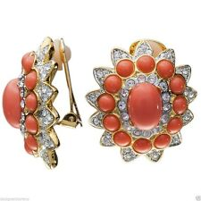 Kenneth Jay Lane Gold rhinestone coral cabochon center earrings clip