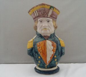 ANTIQUE 19tH C. FRENCH FAIENCE POTTERY ALCIDE CHAUMEIL PUZZLE JUG NAVAL OFFICER