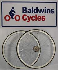 "27"" x 1 1/4 PAIR Bike Wheels + Premium White Wall Tyre's & 7 Speed Freewheel"