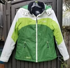 CB Sports Advanced Performance Systems Green & White Hooded Ski Jacket Women's L