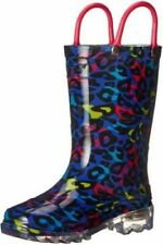 New Western Chief Girls Kids Waterproof Rain Light Up Each Step Boots Size US 11