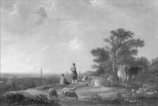 Holland CATTLE COWS SHEEP SHEPHERD REST ON HILL FIELD ~ 1858 Art Print Engraving