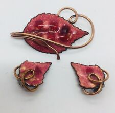 Matisse Renoir Vintage Copper & Enamel Modernist Pin & Clip Earrings