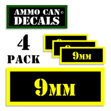 9MM Ammo Can Label 4x Ammunition Case stickers decals 4 pack YW MINI 1.5in