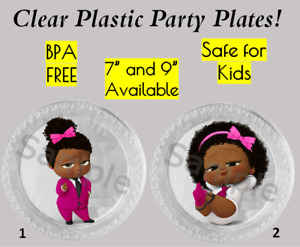 """Boss Baby Girl Plastic Party Plates, 7"""" and 9"""", Set of 6 Plates, Boss Girl Plate"""