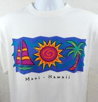 Vintage 90s Maui Hawaii T Shirt Mens Size L White 1994 Sailboat Sun Palm Tree