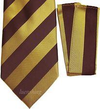 New Polyester Woven Men's Neck Tie set black & gold stripes wedding formal