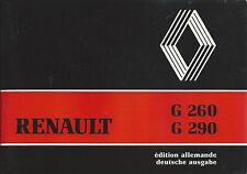 Camion renault 1985 Manuel G 260 G 290 manuel d'utilisation BA