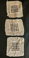 Crochet Silk Blend Mats Set Of 3 Vintage 1930s Hand Made Retro Doilies Old Lace