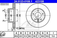 2x Bremsscheibe für Bremsanlage Vorderachse ATE 24.0123-0108.1