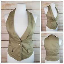 La Classe Couture XS Khaki Fitted Vest Tapered Fit 2 Buttons Cotton w/ Stretch