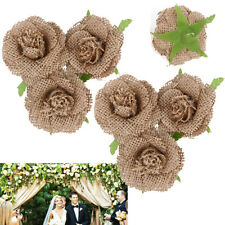 6X Shabby Hessian Burlap Roses Chic Handmade Flowers Rustic Wedding Party Decor