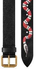 NEW GUCCI BLACK LEATHER KINGSNAKE EMBOSSED PIN BUCKLE BELT 100/40