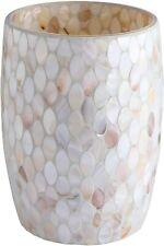 "Bathroom Wastebasket - Glass Mosaic Decorative Trash Can Dia 7.5"" H 10"" (Shell)"