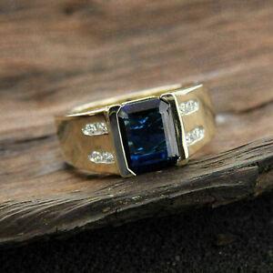 Men's Classic Engagement Half Bezel Set Ring 2.7Ct Sapphire 14k Yellow Gold Over