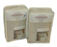 2 Nostalgia Home Lexington Taupe Ivory Standard Shams Set New Quilted