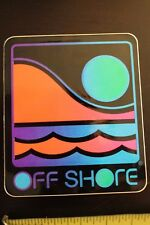 Off Shore Neon 80's Surfboards Clothing Sunset Ocean Vintage Surfing Sticker