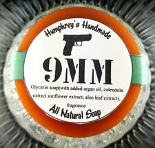 9MM Coffee and Leather Shave & Shampoo Soap Men's Puck Round Glycerin Bar