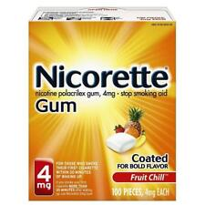 Nicorette Gum 4mg Fruit Chill, 100 Pieces, Exp.9/2018 ~ FREE SHIPPING!