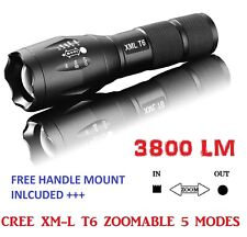 Zoomable 3800Lm Lumens LED Flashlight Hand Torch XML T6 Hiking Camping + Mount