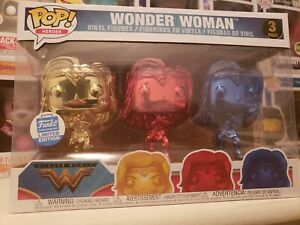 FUNKO POP! HEROES: CHROME WONDER WOMAN 3-PACK FUNKO SHOP EXCLUSIVE