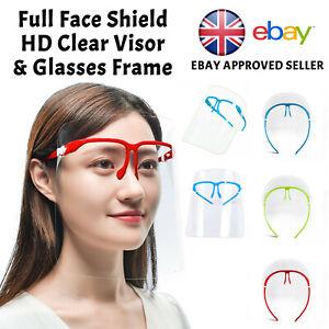 Full Face Shield Visor Glasses Protection Mask PPE Transparent Clear Plastic