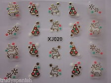 Christmas 3D Nail Art Stickers Gold Snowflakes Reindeers Gel Polish (xj20G)