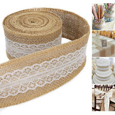 6m DIY Natural Hessian Ribbon +lace Trim Edge Vintage Jute Burlap Wedding