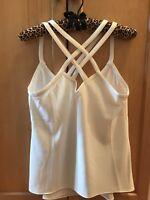 Cooper & Ella Nordstrom Women's Solid White Criss Cross Strap Top Size Small