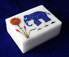Alabaster Marble Jewelry Ring Box Lapis Elephant Inlay Arts Friend Gifts H118