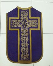 Antique French Purple Mini Vestment Chasuble IHS Embroidered Panel