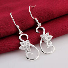 Cute Korean Style Crystal Solid 925 Sterling Silver Stud Earrings Jewelry A880
