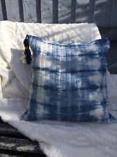 cushion cover tie dye indigo blue linen made in cornwall