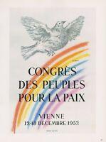 """1989 VINTAGE """"PICASSO PEACE CONGRES LA PAIX"""" MOURLOT COLOR offset Art Lithograph"""