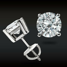 White Gold Brilliant Basket Studs Screw-Back 2.00 Ct Round Earrings 14K Solid
