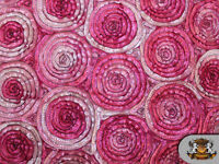 "MULTI-COLOR CIRCLE EMBOSSED TAFFETA FABRIC FUCHSIA 60""' WIDE / SOLD BY THE YARD"
