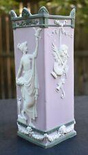 vintage LILAC JASPERWARE square vase Greek maiden w/ bird lyre neoclassical